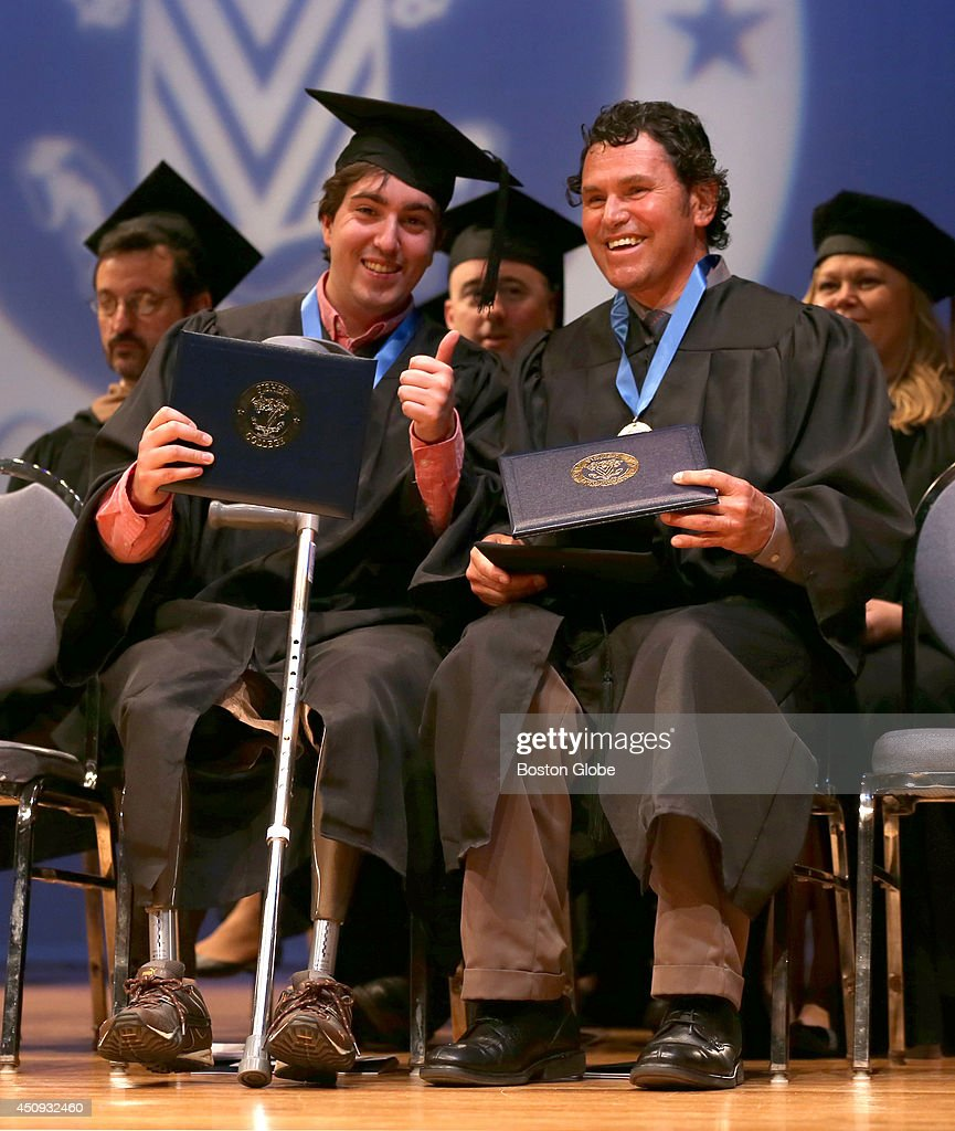 Boston Marathon Bombing victim Jeff Bauman, left, with local hero Carlos Arredondo, right, at Fisher College's 110th Commencement. They both were commencement speakers.