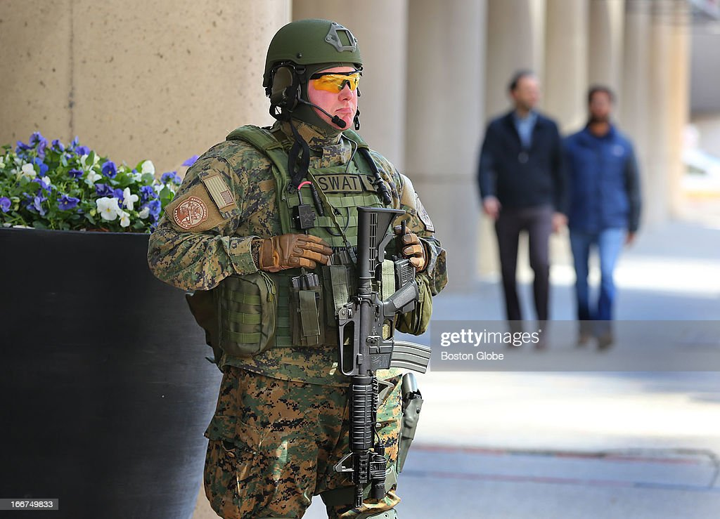 Boston Marathon Explosion aftermath. A SWAT team member stands guard at the Colonnade Hotel entrance on Huntington Avenue.