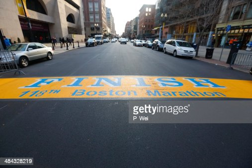 Boston Marathon Finish Line Boylston Street : Stock Photo