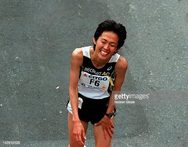 Boston Marathon women's Yuko Arimori from Japan at the finish line