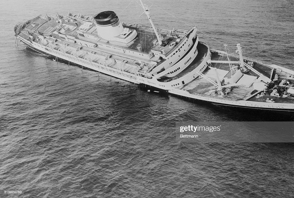 Death List This aerial view shows the Italian liner Andrea Doria listing heavily to the starboard before going to a watery grave today as a result of...