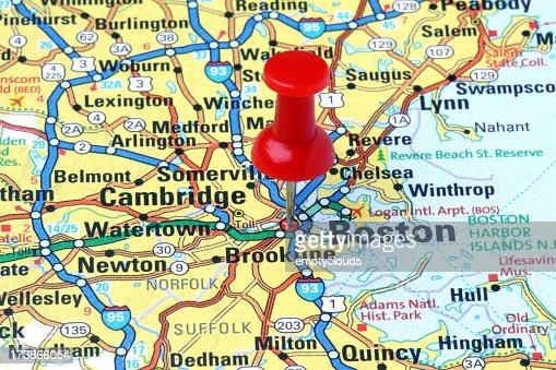 Boston, Massachusetts on a map.