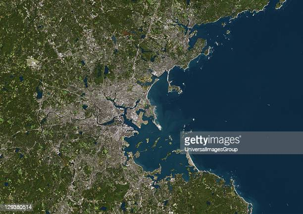 Boston Massachusetts USA True colour satellite image of the city of Boston taken on 27 September 2000 using LANDSAT 7 data Boston Massachusetts Us...