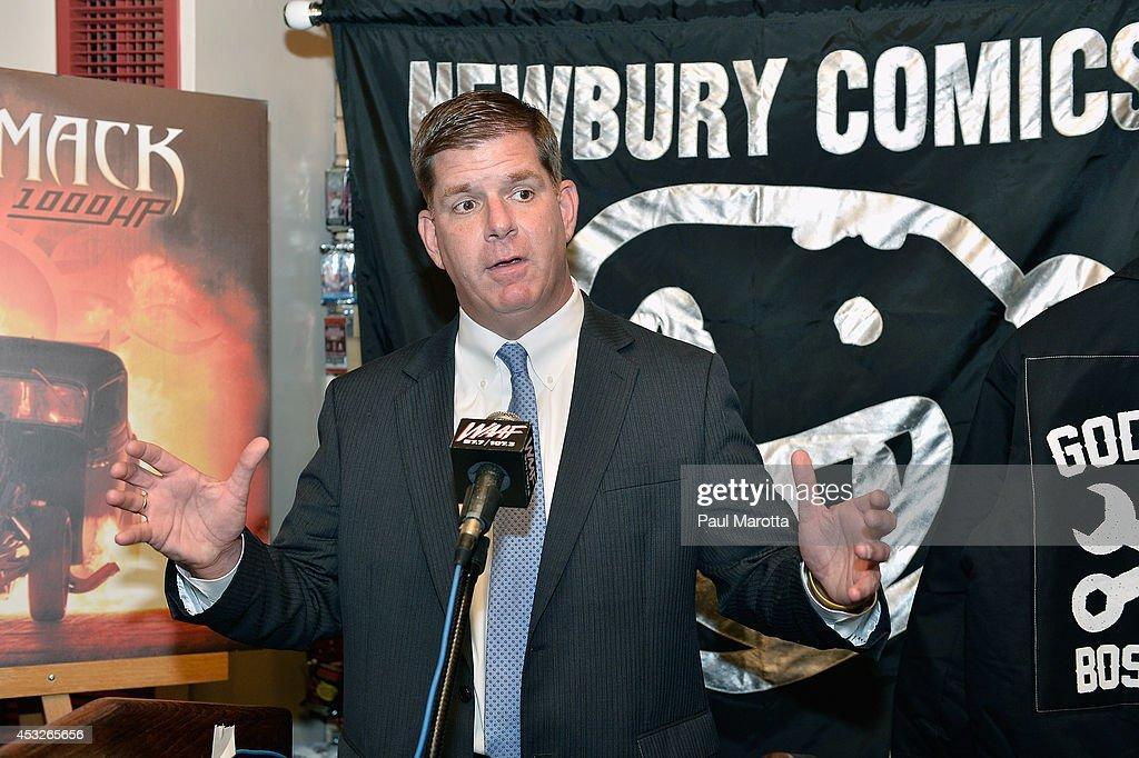 Boston Mayor Martin J. Walsh attends the 'Godsmack Day' press conference declared by Boston Mayor Martin J. Walsh at Newbury Comics on August 6, 2014 in Boston, Massachusetts.