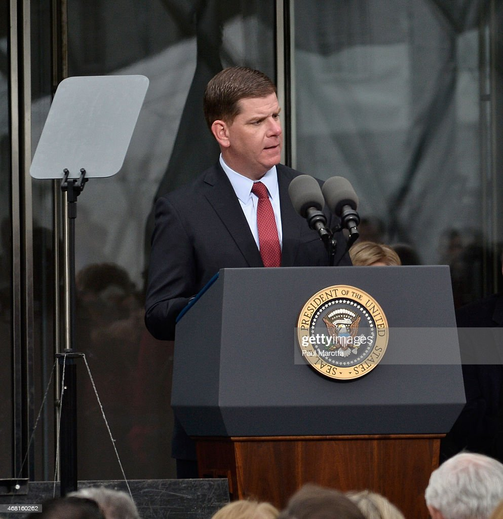 Boston Mayor Martin J. Walsh speaks at the Dedication Ceremony at the Edward M. Kennedy Institute for the United States Senate on March 30, 2015 in Boston, Massachusetts.
