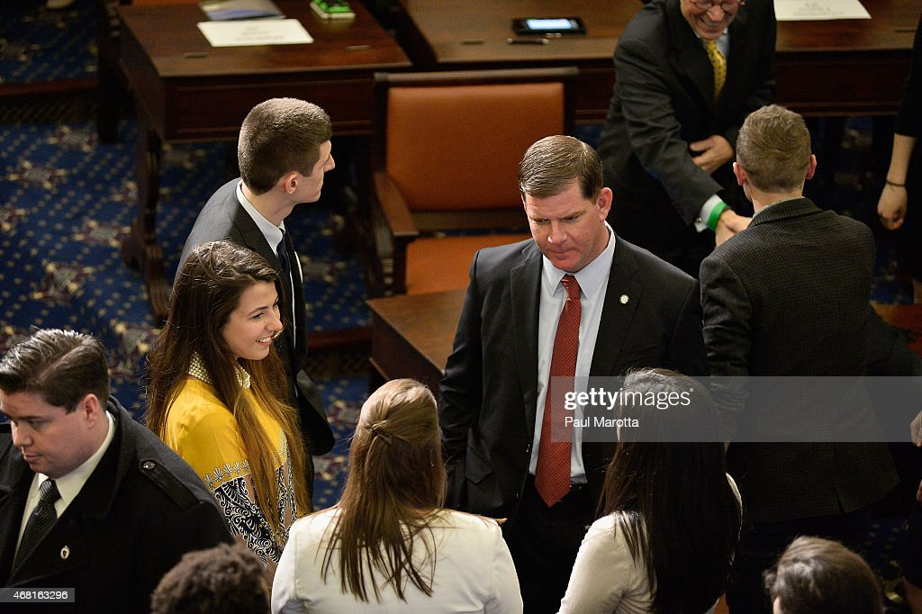 Boston Mayor Martin J. Walsh speaks with college students at the Senate Chamber Dedication Ceremony in the the full scale replica of the United States Senate Chamber at the Edward M. Kennedy Institute for the United States Senate on March 30, 2015 in Boston, Massachusetts.