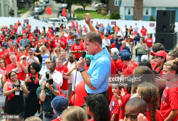 Boston Mayor Marty Walsh acknowledges the crowd as he kicks off his campaign for reelection outside Florian Hall in Boston's Dorchester neighborhood...