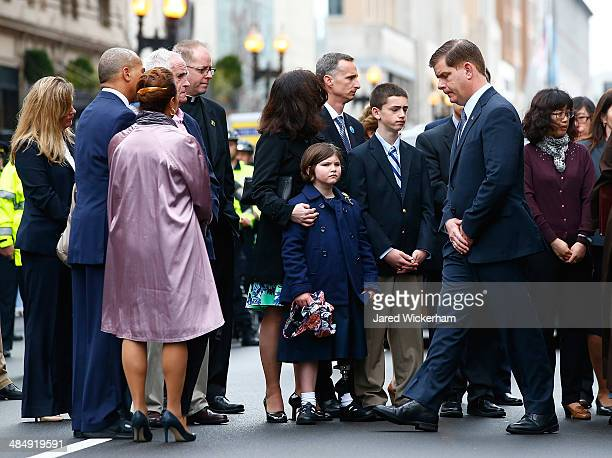 Boston Mayor Marty Walsh participates in a wreathlaying ceremony with members of the victims families commemorating the oneyear anniversary of the...