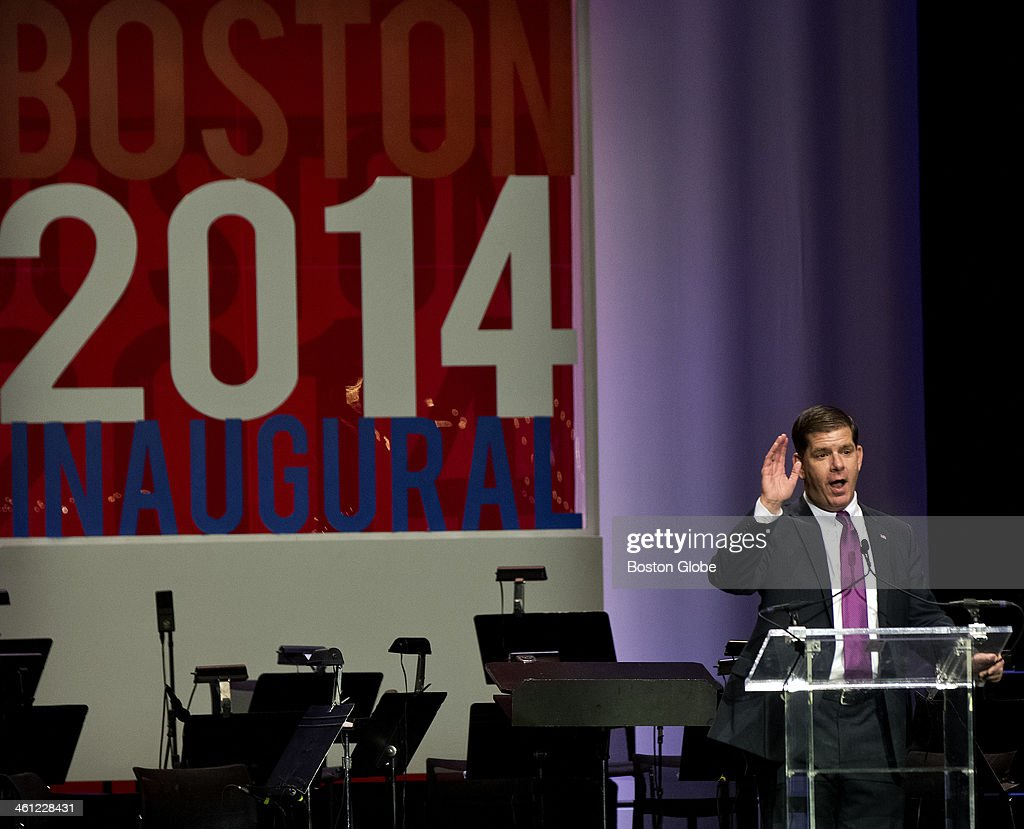 Boston Mayor Marty Walsh speaks at his inaugural ball at the Hynes Convention Center on Monday, Jan. 6, 2014.