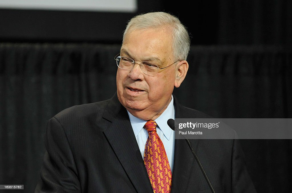 Boston Mayor Thomas M. Menino attends the International Boston Seafood Show at Boston Convention & Exhibition Center on March 11, 2013 in Boston, Massachusetts.