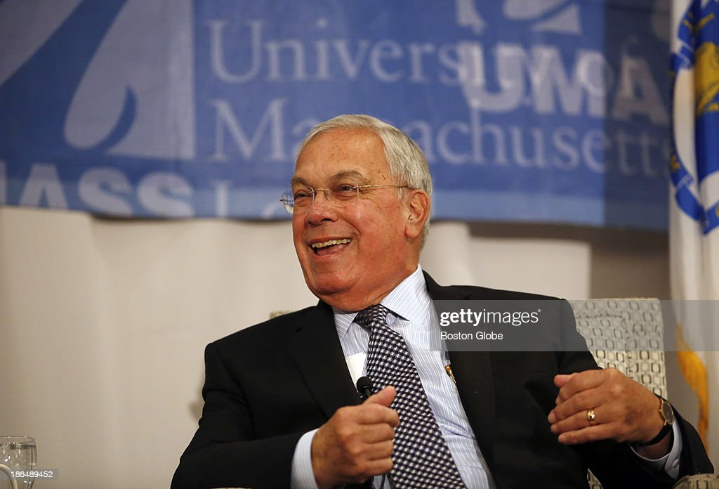 Boston Mayor Thomas M. Menino laughs as he speaks at UMass Lowell as part of the University's Lunchtime Lecture Series in Lowell, Massachusetts on October 21, 2013.