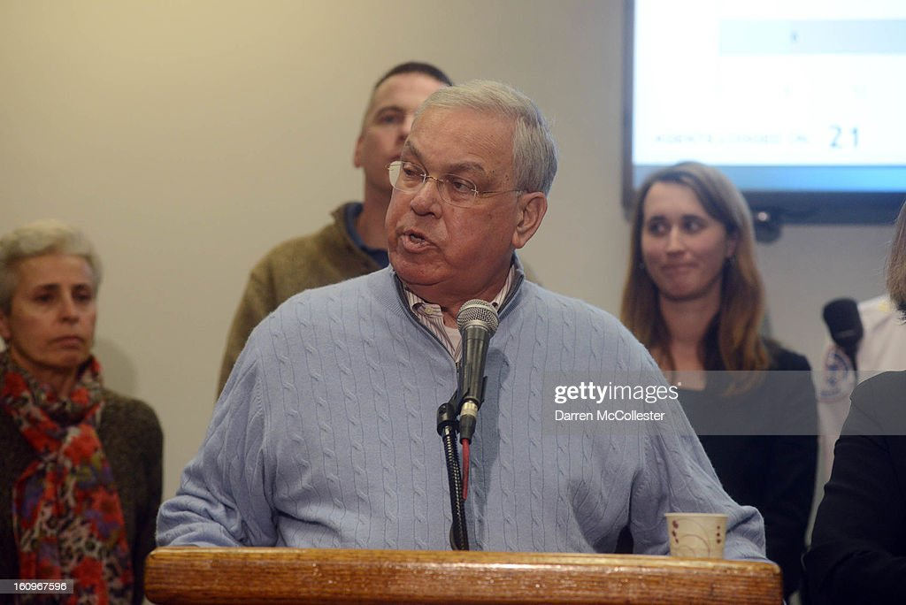 Boston Mayor Thomas M. Menino, surrounded by city officials, briefs the media and citizens of Boston on emergency preparedness during a city hall press conference February 8, 2013 in Boston, Massachusetts. A coming blizzard is expected to bring heavy snow, high winds and coastal flooding, bringing a halt to public transportation, and airport traffic, beginning this afternoon, and into tomorrow.