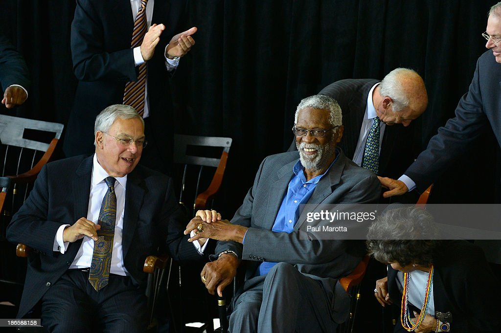 Boston Mayor Thomas Menino and Bill Russell attend the unveiling of the statue in honor of Boston Celtics legend Bill Russell by artist Ann Hirsch at Boston City Hall Plaza on November 1, 2013 in Boston, Massachusetts.