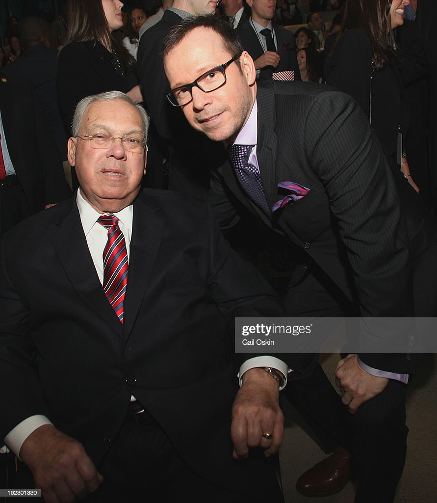 Boston Mayor Thomas Menino and Donnie Wahlberg attend TNT's 'Boston's Finest' Premiere Screening at The Revere Hotel on February 20, 2013 in Boston, Massachusetts.