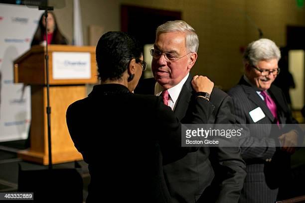 Boston Mayor Thomas Menino received a hug from Carol Fulp chief executive of The Partnership before he spoke Boston Mayor Thomas M Menino made what...