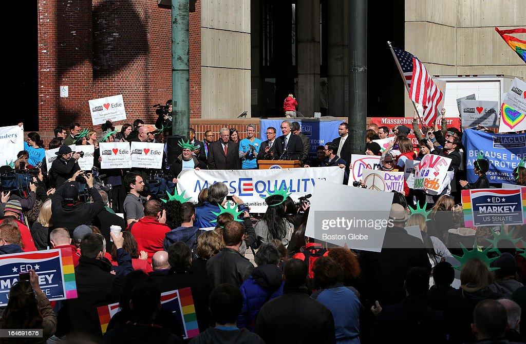 Boston Mayor Tom Menino, U.S. Senate candidate Ed Markey, Mayoral candidate John Connolly joined the crowd during a MassEquality justice rally for marriage equality on Boston's City Hall Plaza.