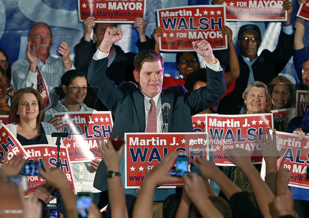Boston mayoral candidate Martin Walsh is pictured at his victory party held at the Venezia Restaurant in Dorchester. He received the most votes in the preliminary election in the first wide-open mayoral race in Boston in two decades.
