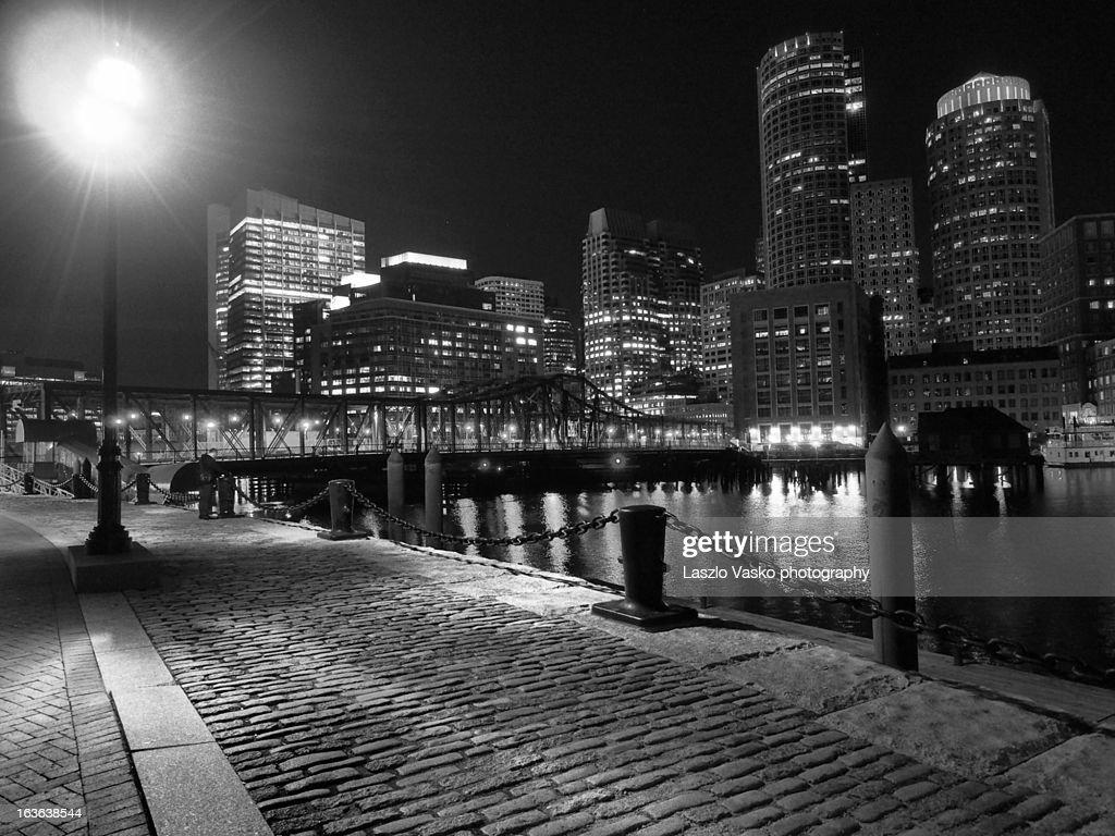 Boston Night Skyline B&W : Stock Photo