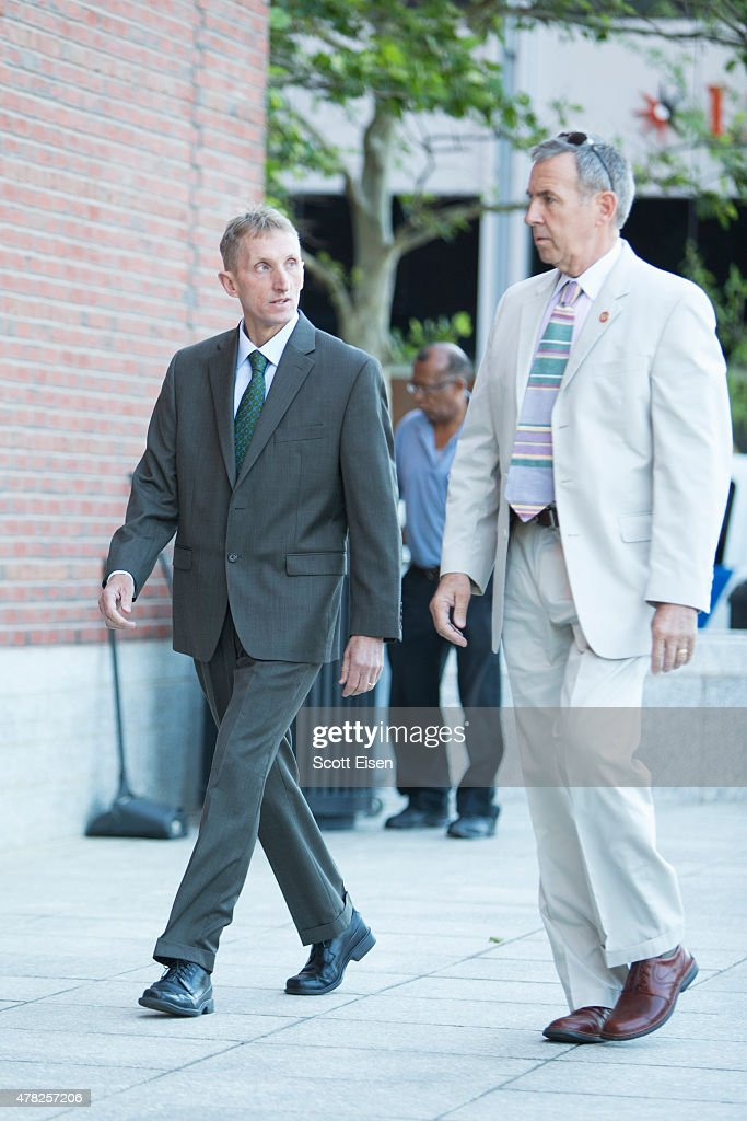Boston Police Commisioner William Evans, left, arrives at John Joseph Moakley United States Courthouse for the official sentencing of Boston Marathon Bomber Dzhokar Tsarnaev on June 24, 2015 in Boston, Massachusetts. Dzhokar Tsarnaev was found guilty on all 30 counts related to his involvement in the 2013 bombing, which resulted in three deaths and over 250 injuries.