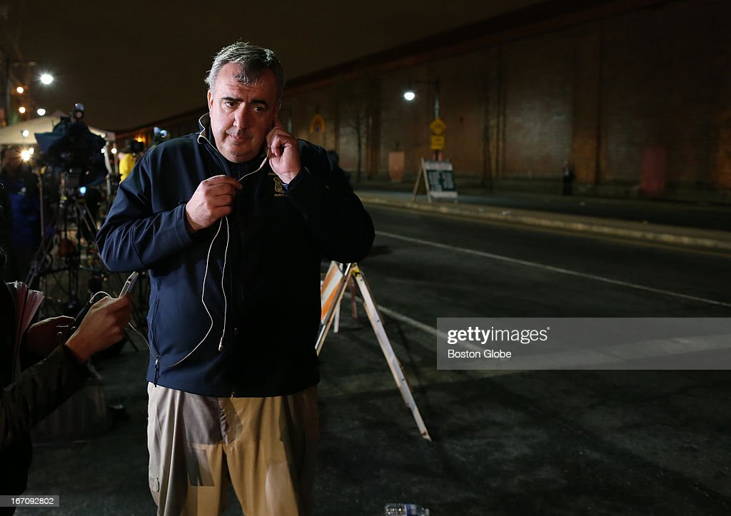 Boston Police Commissioner Ed Davis during a interview after a second suspect was caught. After an intense manhunt and two-hour standoff in Watertown, law enforcement took a person into custody believed to be related to the Boston Marathon bombings.