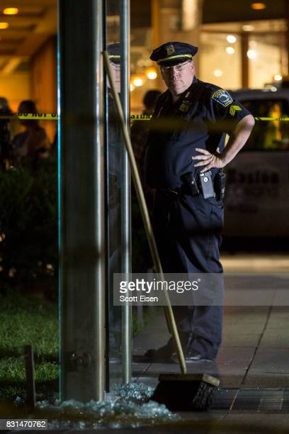 Boston Police guard the crime scene around the New England Holocaust Memorial that was vandalized when a rock was thrown at a glass panel that was...