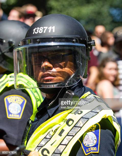 Boston Police officer during the Free Speech Rally on August 19 at Boston Commons in Boston MA