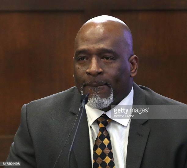 Boston Police Officer Erick K James testifies during the double murder trial of former New England Patriots tight end Aaron Hernandez at Suffolk...