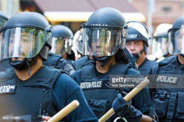 Boston Police Officers during the Free Speech Rally on August 19 at Boston Commons in Boston MA