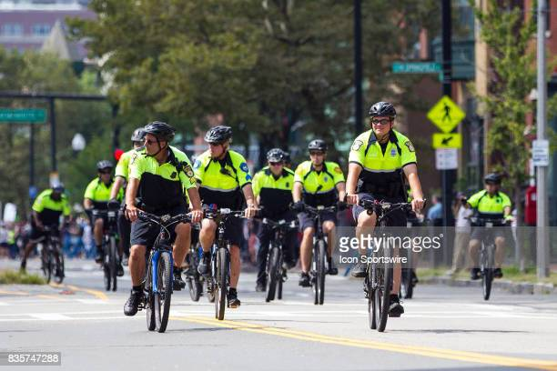 Boston Police officers on bikes during the Free Speech Rally on August 19 at Boston Commons in Boston MA