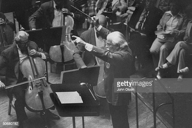 Boston Pops conductor Arthur M Fielder conducting the orchestra during a performance