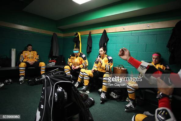 Boston Pride players from left Cherie Hendrickson Denna Laing Hayley Moore Casey Pickett and Rachel Llanes prepare for the game in the dressing room...