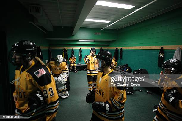 Boston Pride players leave the dressing room before the Connecticut Whale vs Boston Pride National Women's Hockey League game at Chelsea Piers...