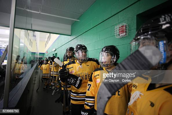 Boston Pride players waiting to take the ice including Marissa Gedman and Meagan Mangene before the Connecticut Whale vs Boston Pride National...