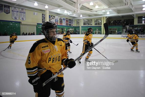 Boston Pride players warm up before the Connecticut Whale vs Boston Pride National Women's Hockey League game at Chelsea Piers Stamford Connecticut...