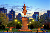 Public Garden in Boston, Massachusetts. The equestrian George Washington statue was created by the monumental American sculptor Thomas Ball in 1867.
