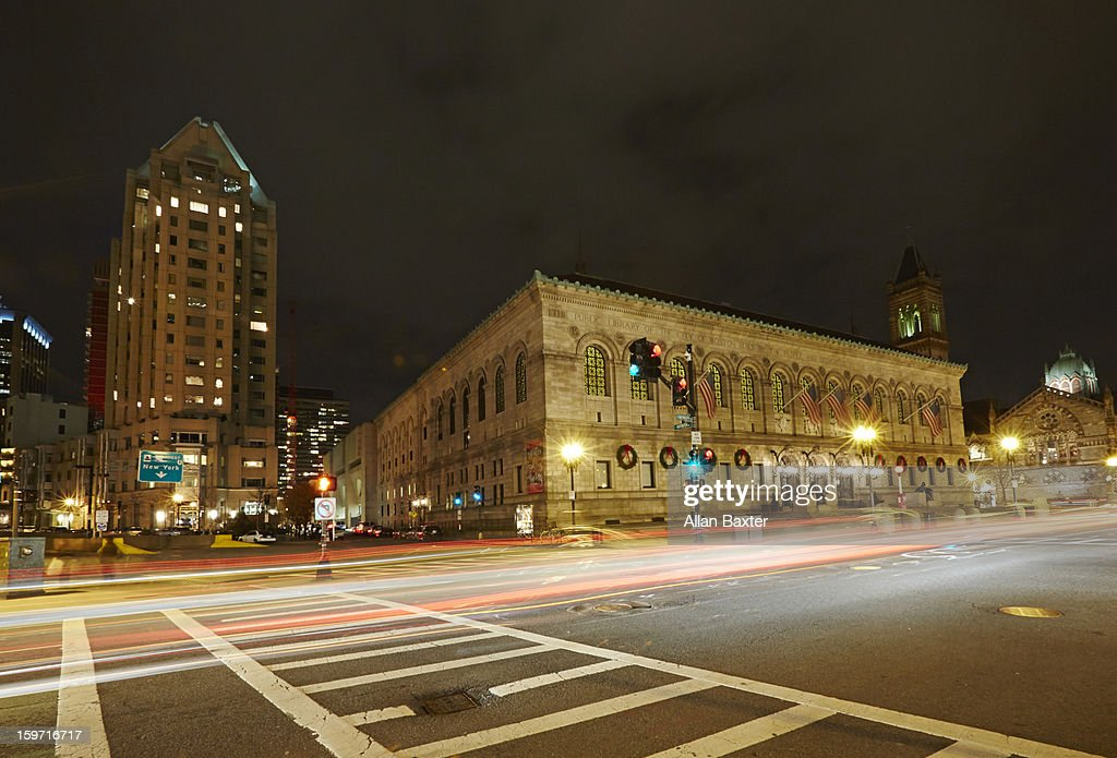 Boston Public Library, McKim building at night : Stock Photo