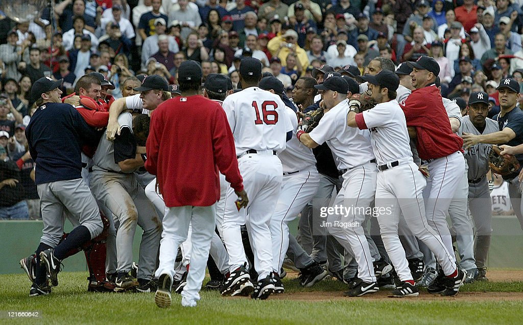 Boston Red Sox and the New Yankees brawl in the third inning after Yankees batter Alex Rodriguez was hit by a pitch by Red Sox's Bronson Arroyo at...