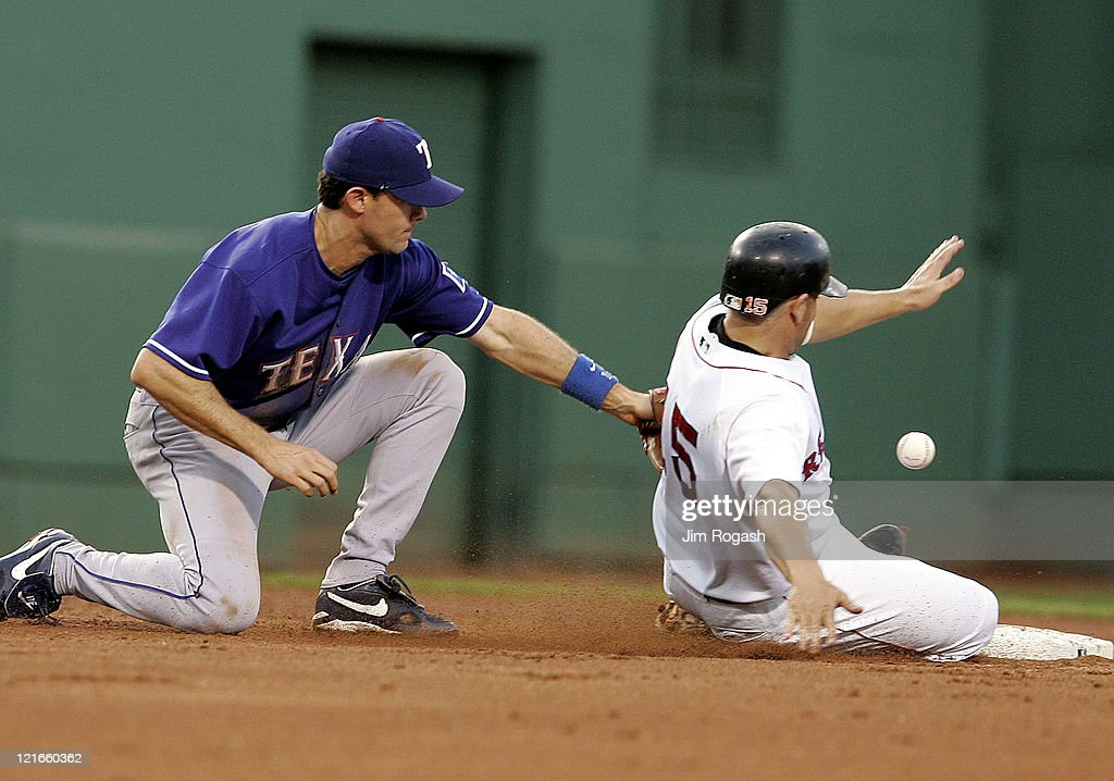 Boston Red Sox base runner Kevin Millar right steals a secon while Texas Rangers shortstop Michael Young is unable to handle an errant throw Friday...