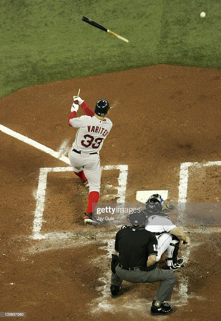 Boston Red Sox C <a gi-track='captionPersonalityLinkClicked' href=/galleries/search?phrase=Jason+Varitek&family=editorial&specificpeople=171480 ng-click='$event.stopPropagation()'>Jason Varitek</a> breaks his bat in MLB action vs the Toronto Blue Jays at Rogers Centre in Toronto, Canada on April 17, 2007.