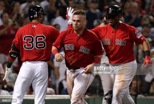 Boston Red Sox catcher Christian Vazquez and Boston Red Sox third baseman Rafael Devers added on two more runs in the eighth inning on a Jackie...