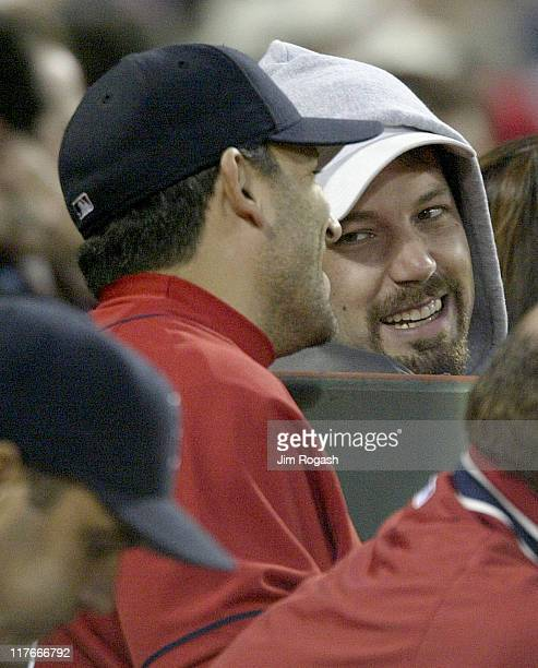 Boston Red Sox catcher Doug Mirabelli chats with actor Ben Affleck during a game against Oakland Athletics Wednesday May 26 2004