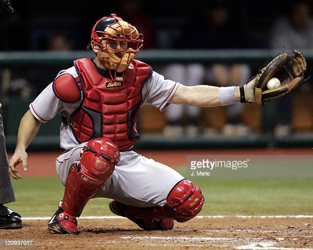 Boston Red Sox catcher Jason Varitek makes the grab during Monday night's game against the Tampa Bay Devil Rays at Tropicana Field in St Petersburg...