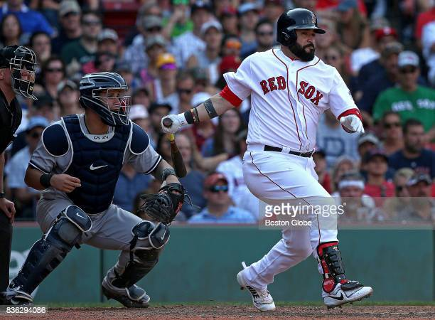 Boston Red Sox catcher Sandy Leon hits a 2 RBI double in the eighth inning The Boston Red Sox host the New York Yankees in the third of a three game...