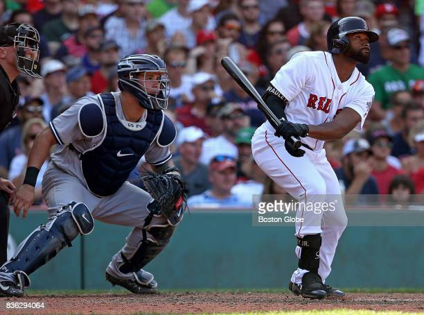 Boston Red Sox center fielder Jackie Bradley Jr hit a RBI single in the sixth inning The Boston Red Sox host the New York Yankees in the third of a...