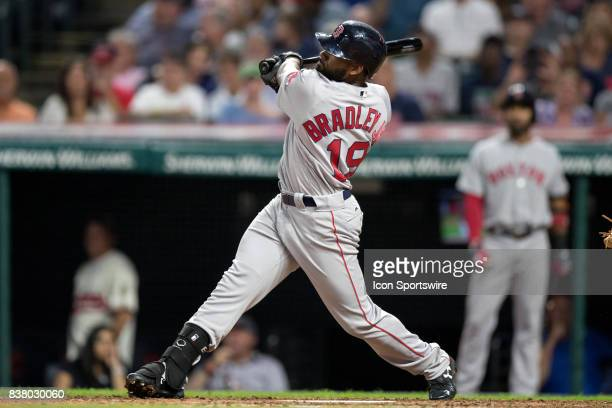 Boston Red Sox center fielder Jackie Bradley Jr hits a home run during the fourth inning of the Major League Baseball game between the Boston Red Sox...