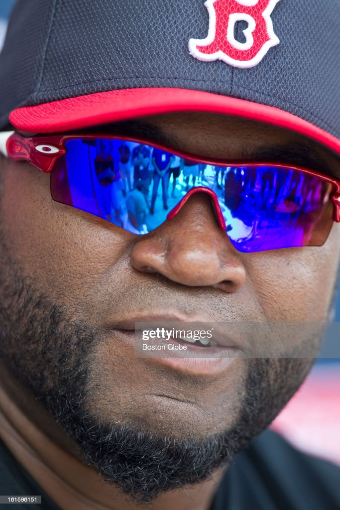 Boston Red Sox David Ortiz talks to the media after the first official spring training day for the Boston Red Sox pitchers and catchers at JetBlue Park on Tuesday, Feb. 12, 2013.