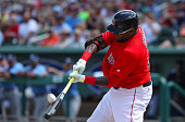 Boston Red Sox designated hitter David Ortiz bats against the Tampa Bay Rays during a Spring Training game Friday March 4th 2016 at JetBlue Park in...