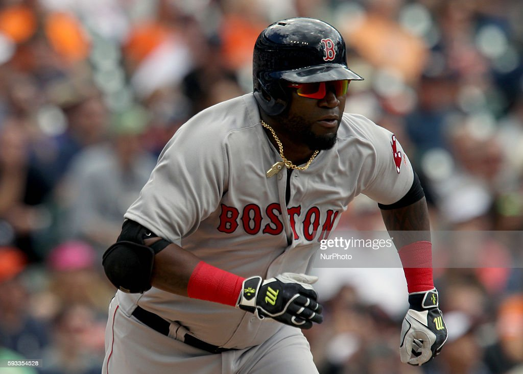 Boston Red Sox designated hitter David Ortiz hits a double in the first inning of a baseball game against the Detroit Tigers in Detroit Michigan USA...