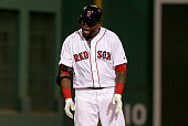Boston Red Sox designated hitter David Ortiz lets out a howl after doubling during the seventh inning of a game against the Minnesota Twins at Fenway...