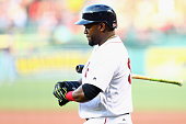 Boston Red Sox designated hitter David Ortiz prepares to bat against the Minnesota Twins during the first inning at Fenway Park on July 21 2016 in...
